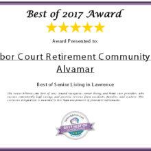 Senior Advisor Award Certificate - The Best of Senior Living in Lawrence for 2017